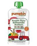 Pumpkin Organics SPASS | Bio Gemüse-Quetschie aus Karotte, Süßkartoffel, Brokkoli und Birne (8 x 100g) I Babynahrung ab dem 6. Monat