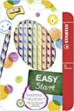 Ergonomischer Buntstift für Linkshänder - STABILO EASYcolors - 12er Pack mit Spitzer - mit 12 verschiedenen Farben