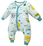 Chilsuessy Baby Ganzjahres Schlafsack 1.5 Tog Babyschlafsack mit Füßen für Säugling Kleinkind Kinder Schlafsäcke Baumwolle Schlafsack mit Beinen, Grün Dschungel,...
