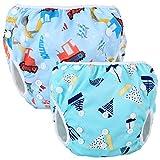Teamoy Schwimmwindel Baby, Schwimmhose Baby Wiederverwendbar, Baby Badehose Jungen, Baby Verstellbar Badeanzug für 0-3 Jahre Baby (Tool Car + Blue Sailboat)
