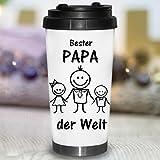 Wandtattoo-Loft Edelstahl Thermobecher Schriftzug Bester Papa der Welt Strichmännchen Figuren