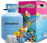 Helium Ballongas für bis zu 50 Ballons + 50 bunte Latexballons (Ø 25cm)