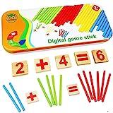 Habba-Babba Montessori Mathe Spielzeug aus Holz inkl. Metallbox zum Aufbewahren Zahlen lernen mit Rechen-Stäbchen