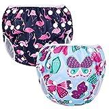 Luxja Schwimmwindel wiederverwendbar (2 Stück), Baby Schwimmhose Verstellbarer, Waschbar Schwimmwindel für Baby (0-3 Jahre), Butterfly + Flamingo
