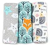 Spucktücher Baby - Moltontücher - 3er Pack - 80x80cm – Spucktuch – 100% Baumwolle Flanell Weiss,Bunt - Moltontuch Unisex– Spucktücher für Jungen oder Mädchen