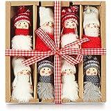 com-four® 8X Premium Weihnachtsmann-Anhänger für den Weihnachtsbaum, Verschiedene Christbaum-Figuren Anhänger als Baumbehang, Weihnachtsschmuck oder Geschenk-Anhänger