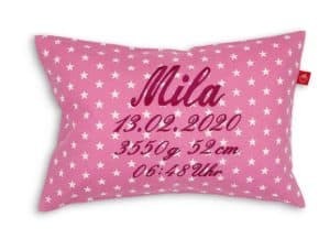 Geburtskissen, Kissen mit Babynamen rosa
